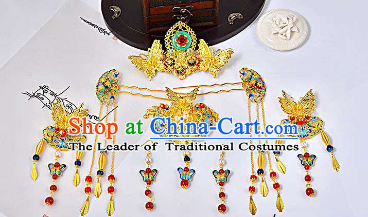 Traditional Handmade Chinese Ancient Wedding Hair Accessories Xiuhe Suit Cloisonn Butterfly Phoenix Coronet Complete Set, Bride Hanfu Hair Sticks Hair Jewellery for Women