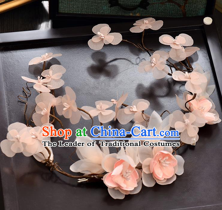 Top Grade Handmade Chinese Classical Hair Accessories Baroque Style Wedding Pink Flower Garland Hair Clasp Headband Bride Headwear for Women