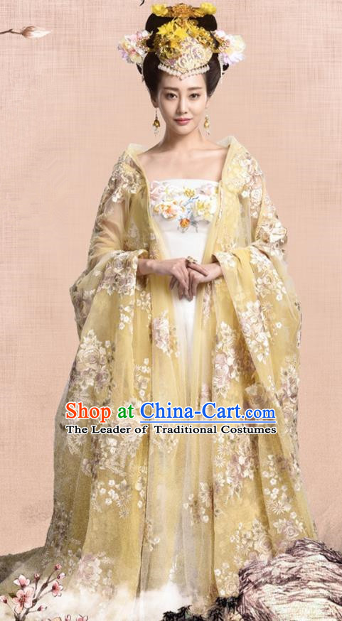 Traditional Chinese Tang Dynasty Imperial Empress Embroidery Costume and Headpiece Complete Set, Once Upon a Time Chinese Ancient Palace Lady Hanfu Dress Clothing for Women