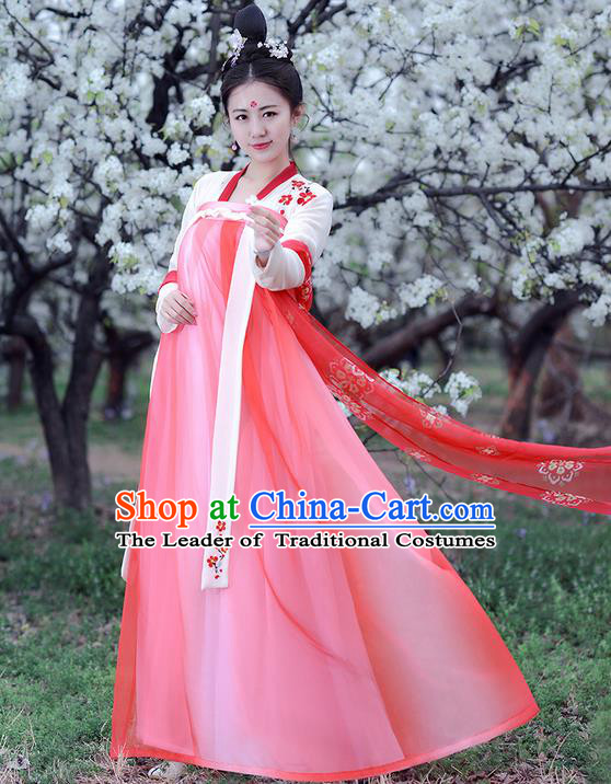Traditional Ancient Chinese Costume Tang Dynasty Palace Lady Embroidery Wintersweet Slip Dress, Elegant Hanfu Clothing Chinese Princess Costume for Women