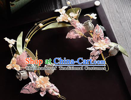 Top Grade Handmade Chinese Classical Hair Accessories Princess Wedding Pink Lace Flowers Butterfly Hair Clasp Headband Bride Headwear for Women
