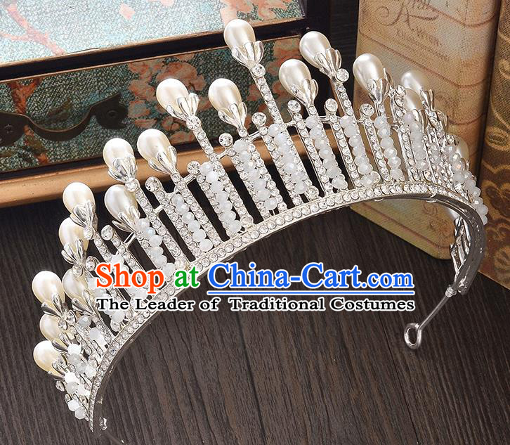 Top Grade Handmade Hair Accessories Baroque Style Wedding Crystal White Pearls Royal Crown, Bride Princess Hair Kether Jewellery Imperial Crown for Women