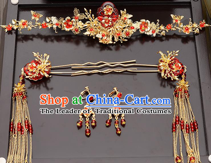 Traditional Handmade Chinese Ancient Wedding Hair Accessories Xiuhe Suit Red Flower Phoenix Coronet Complete Set, Bride Tassel Step Shake Hanfu Hair Fascinators for Women