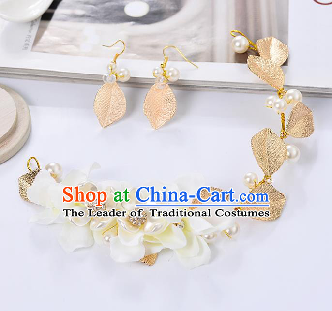 Top Grade Handmade Chinese Classical Jewelry Accessories Queen Wedding Golden Leaf Necklace and Earrings Bride Eardrop for Women