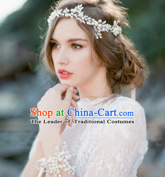 Top Grade Handmade Chinese Classical Hair Accessories Princess Wedding Crystal Pearls Hair Clasp Headband Bride Headwear for Women
