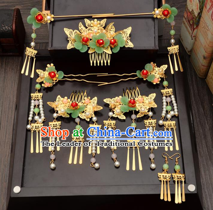 Traditional Handmade Chinese Ancient Wedding Hair Accessories Xiuhe Suit Green Flower Hairpins Complete Set, Bride Beads Tassel Step Shake Hanfu Hair Sticks Hair Comb for Women