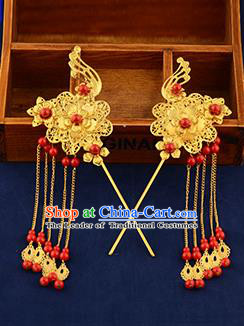 Traditional Handmade Chinese Ancient Wedding Hair Accessories Xiuhe Suit Ancient Costume Golden Phoenix Hairpins, Bride Step Shake Hanfu Hair Sticks Hair Fascinators for Women