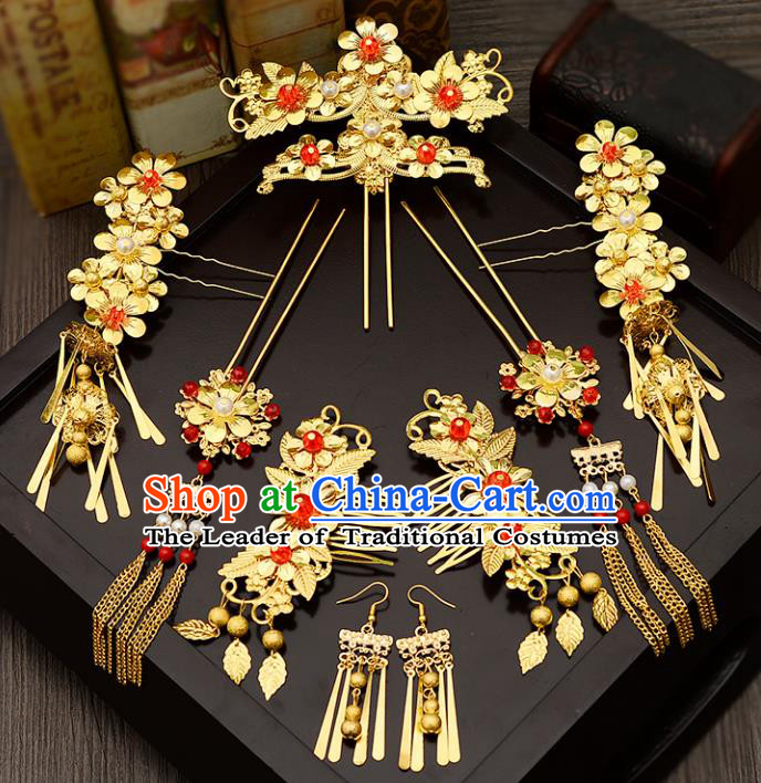 Traditional Handmade Chinese Ancient Wedding Hair Accessories Complete Set Xiuhe Suit Tassel Phoenix Coronet, Bride Palace Lady Step Shake Hanfu Hairpins for Women