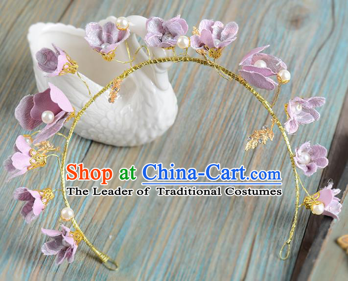 Top Grade Handmade Chinese Classical Hair Accessories Princess Wedding Baroque Purple Flowers Pearl Hair Clasp Bride Headband Headwear for Women