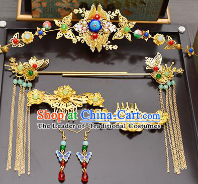 Traditional Handmade Chinese Ancient Costume Wedding Xiuhe Suit Hair Accessories Complete Set Cloisonne Butterfly Phoenix Coronet, Bride Palace Lady Tassel Step Shake Hanfu Hairpins for Women