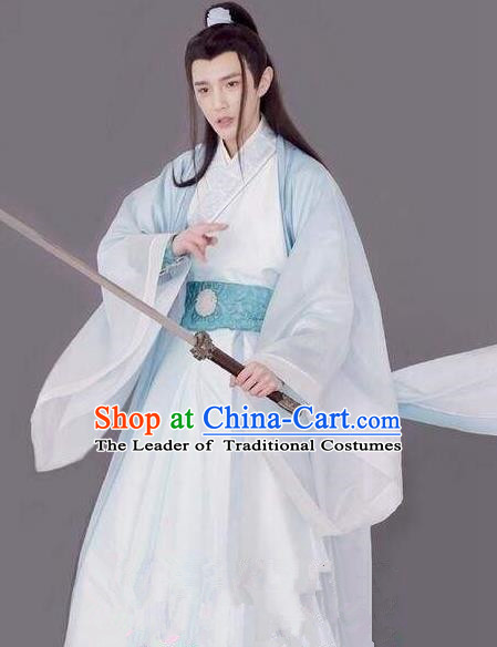 Traditional Chinese Ancient Times Swordsman Costume and Headpiece Complete Set, Xuan-Yuan Sword Legend: The Clouds of Han Chinese Prince Hanfu Robe for Men