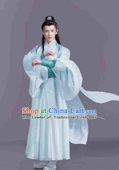 Traditional Chinese Ancient Times Kawaler Hero Costume, Xuan-Yuan Sword Legend: The Clouds of Han Chinese Swordsman Hanfu Robe for Men