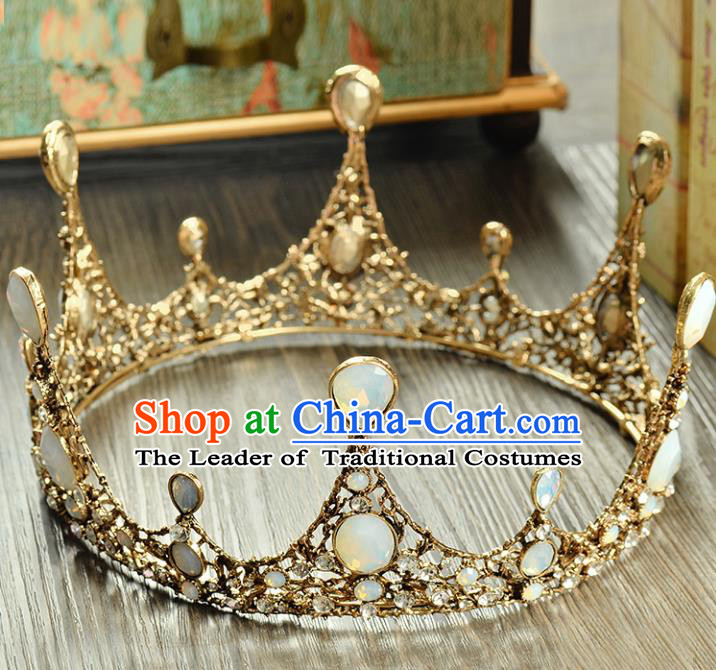 Top Grade Handmade Hair Accessories Baroque Luxury Opal Round Royal Crown, Bride Wedding Hair Kether Jewellery Princess Imperial Crown for Women