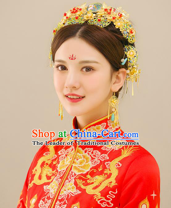 Traditional Handmade Chinese Wedding Xiuhe Suit Bride Blueing Tassel Phoenix Coronet Hair Accessories Complete Set, Step Shake Hanfu Hairpins for Women