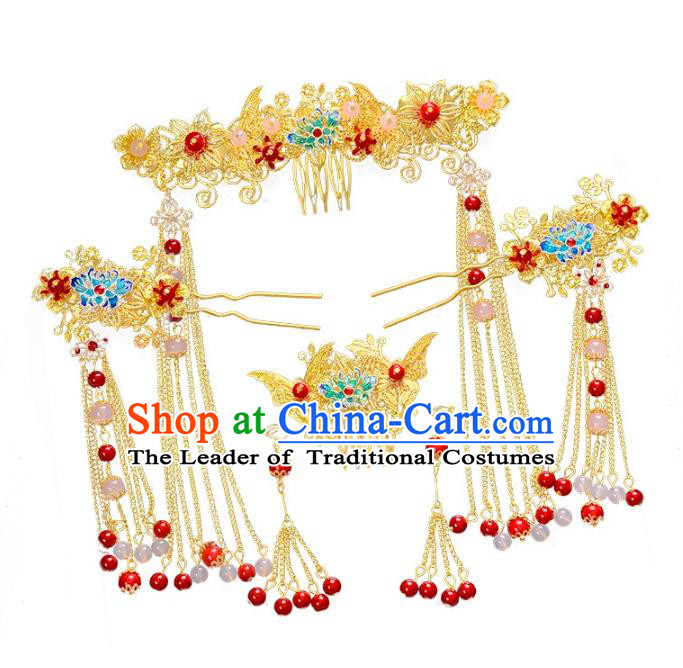 Traditional Handmade Chinese Wedding Xiuhe Suit Bride Hair Accessories Hair Comb Complete Set, Step Shake Hanfu Hairpins for Women