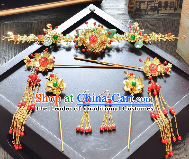 Traditional Handmade Chinese Wedding Xiuhe Suit Bride Hair Accessories Hair Comb Hairpins Complete Set, Step Shake Hanfu Hairpins for Women