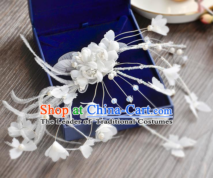 Top Grade Handmade Chinese Classical Hair Accessories Princess Wedding Baroque Headwear White Feather Flowers Hair Clasp Bride Headband for Women