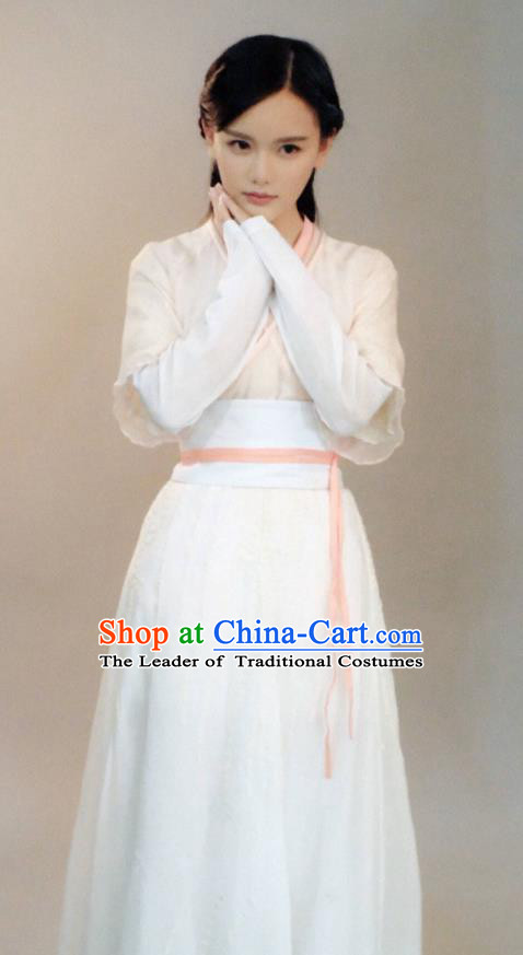 Traditional Chinese Southern and Northern Dynasties Palace Lady Costume, Lost Love In Times Chinese Ancient Fairy Maidservants Hanfu Dress for Women
