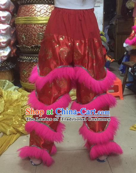 World Lion Dance Competition Fur Hoksan Costume Lion Dance Pants Adult Size Costumes Red Trousers