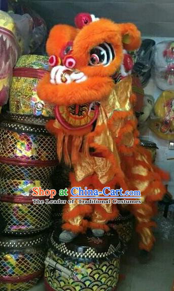 World Lion Dance Competition Orange Fur Lion Head Lion Dance Costumes Complete Set for Adult