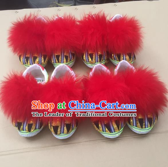 World Lion Dance Competition Red Fur Shoes Lion Dance Shoes for Adult