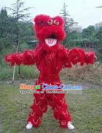 World Lion Dance Competition Red Fur Lion Head Lion Dance Single Person Costumes for Kids