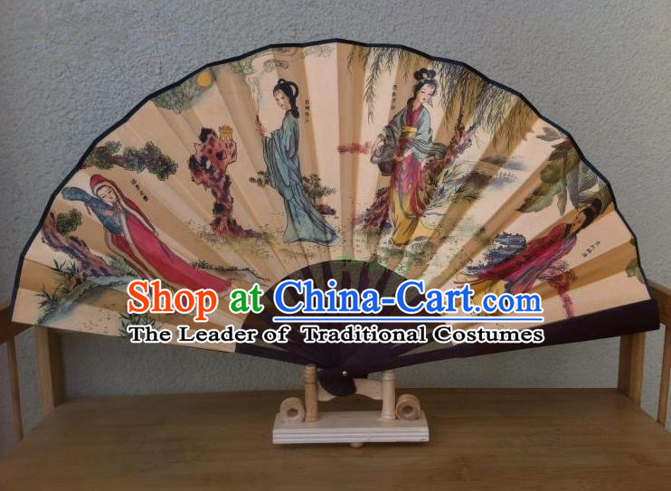 Traditional Chinese Crafts Silk Folding Fan China Sensu Ink Painting Four Great Beauty Accordion Fan for Men