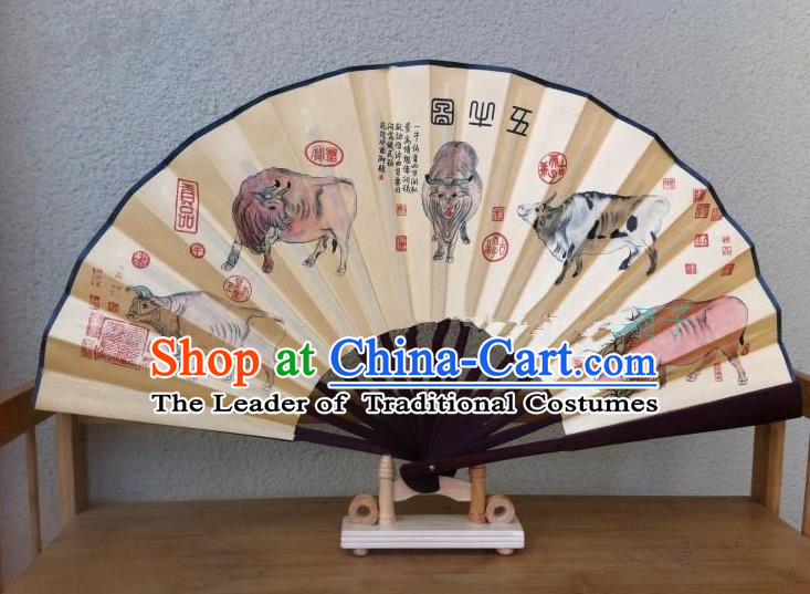Traditional Chinese Crafts Silk Folding Fan China Sensu Ink Painting Five Oxen Accordion Fan for Men