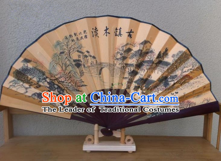 Traditional Chinese Crafts Silk Folding Fan China Sensu Printing Ancient Towns Wood Bridge Accordion Fan for Men