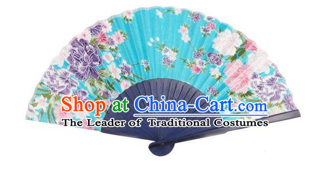 Traditional Chinese Crafts Silk Folding Fan China Sensu Japan Printing Flowers Dance Blue Accordion Fan for Women