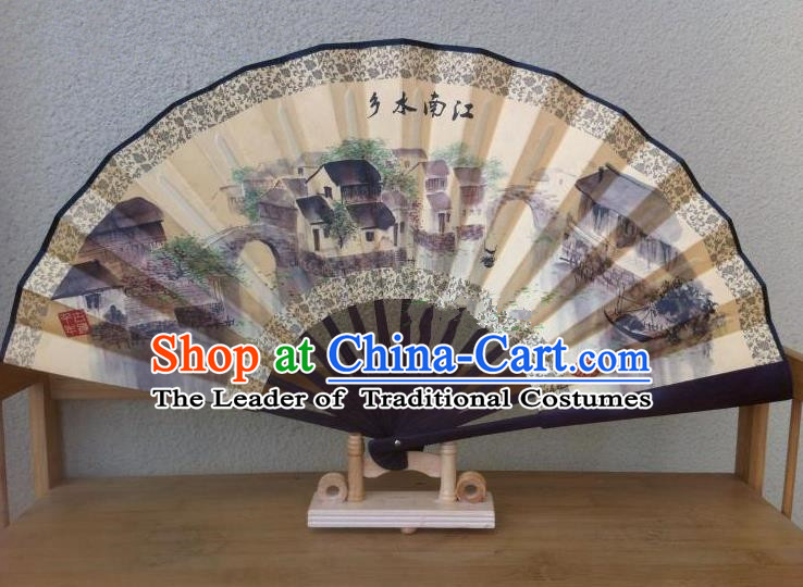 Traditional Chinese Crafts Silk Folding Fan China Sensu Ink Painting Jiangnan Countryside Accordion Fan for Men