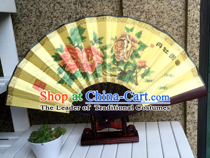 Traditional Chinese Crafts Peking Opera Folding Fan China Sensu Printing Peony Flowers Dance Accordion Silk Fan for Women
