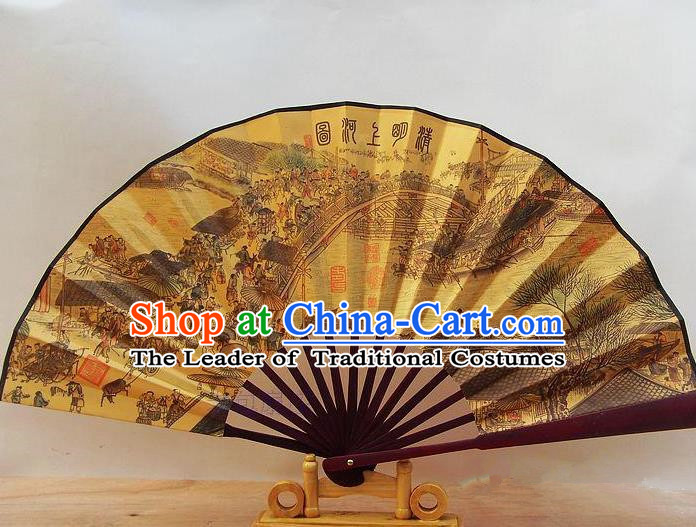 Traditional Chinese Crafts Peking Opera Folding Fan China Sensu Printing Riverside Scene at Qingming Festival Accordion Silk Fan for Men