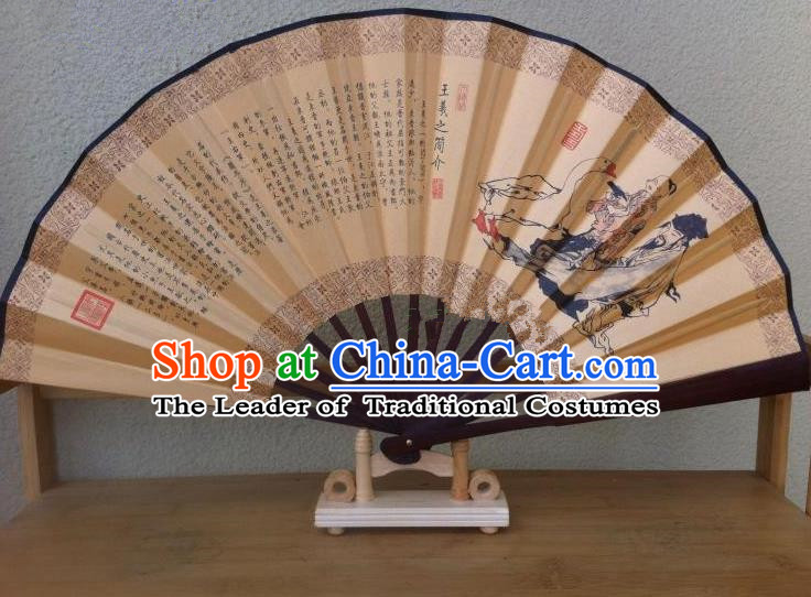 Traditional Chinese Crafts Silk Folding Fan China Sensu Ink Painting Orchid Pavilion Calligraphy Accordion Fan for Men
