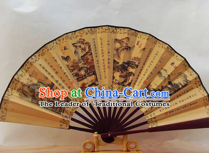 Traditional Chinese Crafts Peking Opera Folding Fan China Sensu Printing Four Seasons Scenery Accordion Silk Fan for Men