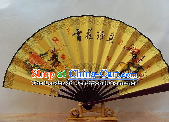 Traditional Chinese Crafts Peking Opera Folding Fan China Sensu Printing Piano Songbirds Accordion Silk Fan for Men