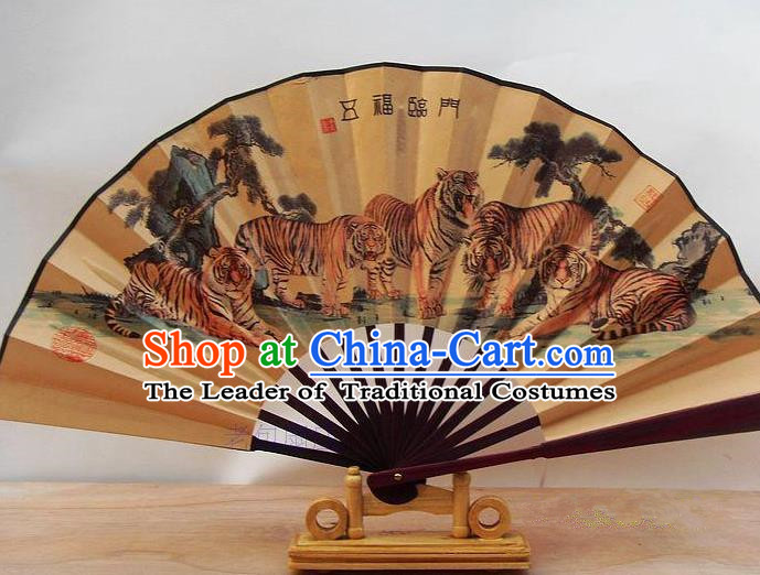 Traditional Chinese Crafts Peking Opera Folding Fan China Sensu Printing Five Tigers Accordion Silk Fan for Men