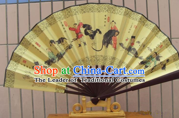 Traditional Chinese Crafts Peking Opera Folding Fan China Sensu Printing Chinese Zodiac Accordion Silk Fan for Men