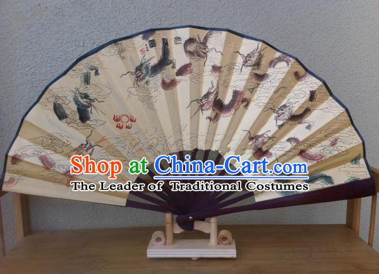 Traditional Chinese Crafts Silk Folding Fan China Sensu Ink Painting Nine Dragons Accordion Fan for Men
