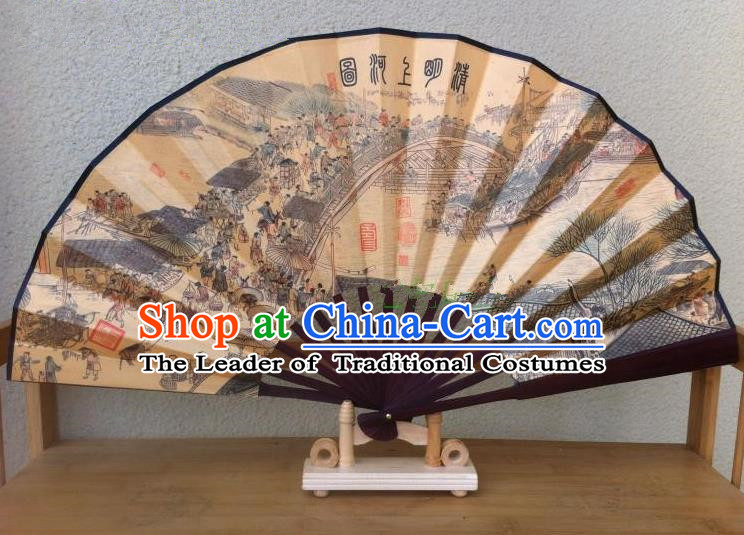 Traditional Chinese Crafts Silk Folding Fan China Sensu Ink Painting Riverside Scene at Qingming Festival Accordion Fan for Men