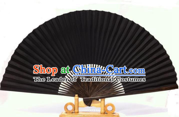 Traditional Chinese Crafts Peking Opera Folding Fan China Sensu Black Paper Fan for Women