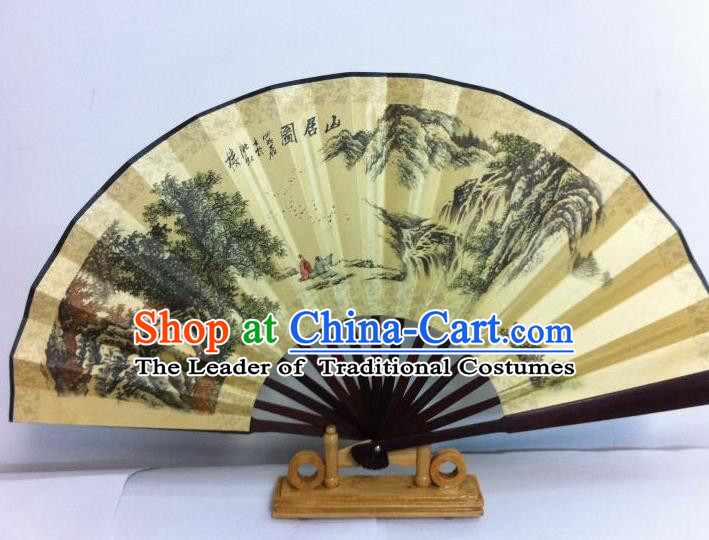 Traditional Chinese Crafts Peking Opera Folding Fan China Sensu Printing Mountains Silk Fan for Men