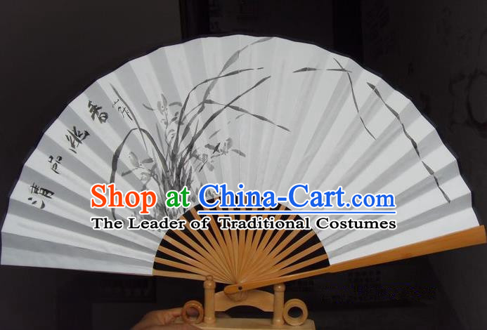 Traditional Chinese Crafts Peking Opera Folding Fan China Sensu Hand Ink Painting Orchid Xuan Paper Fan