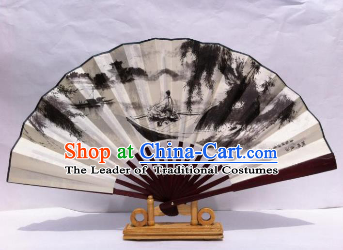 Traditional Chinese Crafts Peking Opera Folding Fan China Sensu Hand Ink Painting Soliloquy at Cold Mountain Temple Xuan Paper Fan