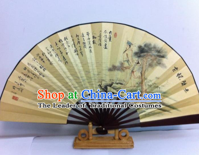 Traditional Chinese Crafts Peking Opera Folding Fan China Sensu Printing Meditating on the Past at Chibi Silk Fan for Men