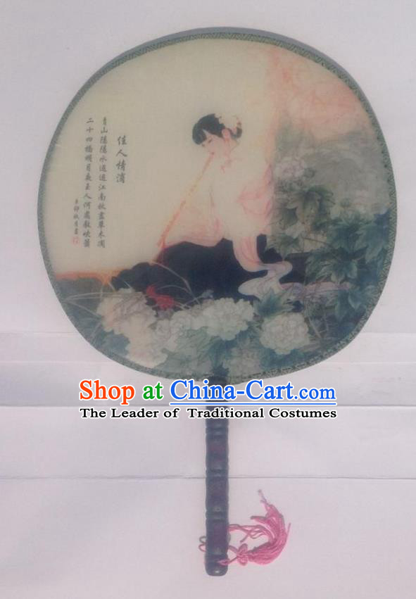Traditional Chinese Crafts Ancient Palace Lady Dance Round Silk Fan, China Hand Painting Imperial Concubine Hanfu Circular Fan for Women