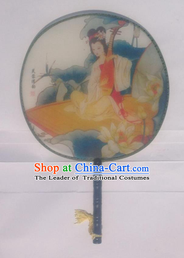 Traditional Chinese Crafts Ancient Palace Lady Dance Round Silk Fan, China Hand Painting Lute Beauty Imperial Concubine Hanfu Circular Fan for Women