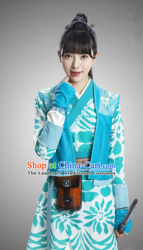 Traditional Chinese Handmade Ming Dynasty Heroic Woman Embroidery Costume and Headpiece Complete Set, Chinese Ancient Swordswoman Hanfu Dress