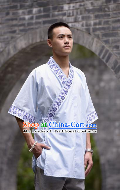 Traditional Chinese Han Dynasty Nobility Childe Hanfu Costume Slant Opening Grey Shirt, China Ancient Martial Arts Upper Garment Clothing for Men