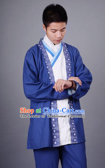 Traditional Chinese Han Dynasty Nobility Childe Hanfu Costume Slant Opening White Shirt and Cardigan, China Ancient Martial Arts Upper Garment Clothing for Men